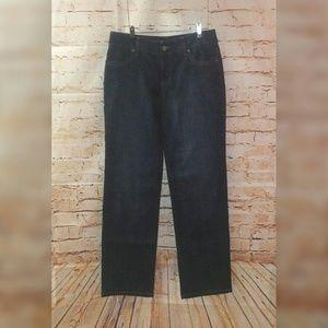 Chicos Platinum Dark Wash Jeans M Wide Leg 10 1.5
